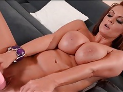 Milf redhead fucks big pink toy into her cunt tubes