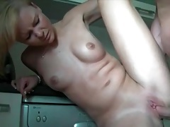 Homemade kitchen fuck video with hot blonde tubes