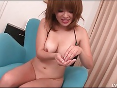 Japanese girl sucks him off and spits out the cum tubes