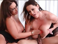 Two huge tits ladies stroke and suck his dick tubes