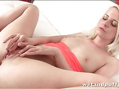 Blonde brings you close up to her young pussy tubes