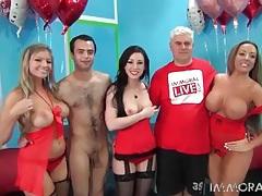 Ladies in red lingerie look hot in group porn tubes
