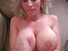 Sara jay jerks off a hard cock onto her tits tubes