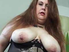 Fat mom in lingerie fondles her tits tubes