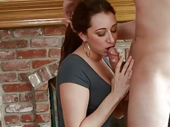 Fireside blowjob from a naughty milf babe tubes