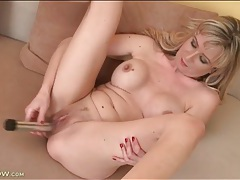Big boobs mom fucks long silver dildo tubes