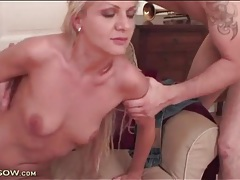 Small boobs milf sucks cock and balls tubes
