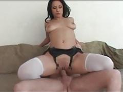 Cock riding slut in white stockings rides dick tubes