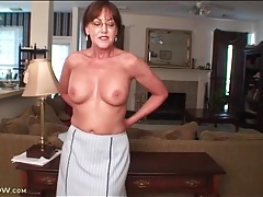 Mature in sexy skirt suit strips naked tubes