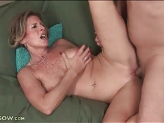 Freckled mom with sexy implants rides a cock tubes