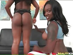 Hot booty black girls tease and suck white dick tubes