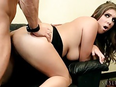 Cock riding curvy girl in shiny high heels tubes