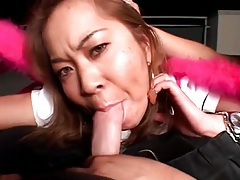 Asian sucks hard dick until it cums for her tubes
