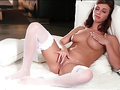 Erotic white lingerie striptease with victoria lynn tubes