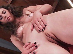 Sweaty casey calvert strips and fingers her cunt tubes