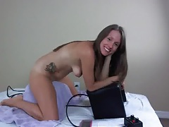 Lelu love rides the sybian during a webcam show tubes