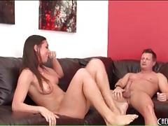 Wet cunt of a flexible brunette fucked on a couch tubes
