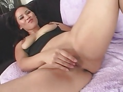 Finger fucking asian milf in sexy thong tubes