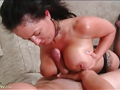 Bj and sexy titjob from mom in stockings tubes