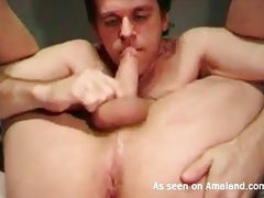 Flexible guy sucks his own cock on webcam tubes