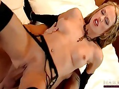 Ass fucked hottie in black gloves gets a facial tubes