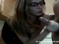 Hot girlfriend in glasses gets a facial tubes