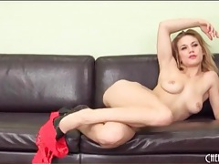 Sexy solo blonde teases in red lace lingerie tubes