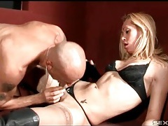 Knee high leather boots on a sexy tranny tubes