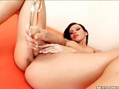 Skinny hottie sucks and fucks her dildos tubes
