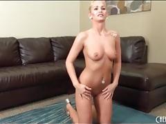 Cute big booty blonde in slutty high heels tubes