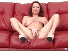 Naked redhead with natural tits fucks a toy tubes