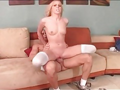 Skinny blonde with a tramp stamp rides cock tubes