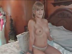 Dirty talking blonde with nice tits fucks a toy tubes