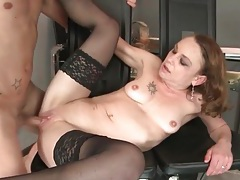 Tiny tits mature in black stockings fucked tubes