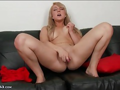 Blonde with pretty pierced nipples masturbates tubes