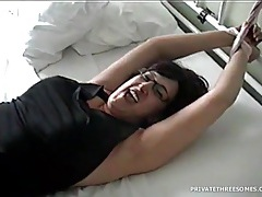 Wife cuffed to the bed and sucking dick tubes