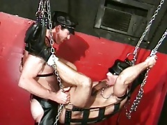 Gay leather ass fuck in a sex swing tubes