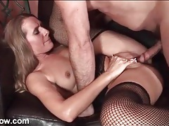 Big cock missionary sex with fishnets milf tubes