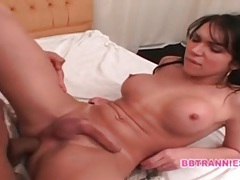 Shemale and her man fuck each other bareback tubes