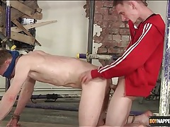 Bent over boy with a blindfold fucked in the ass tubes
