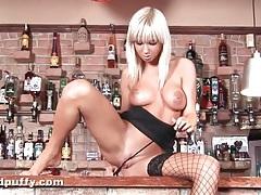 Blonde spills milk all over her naked body tubes