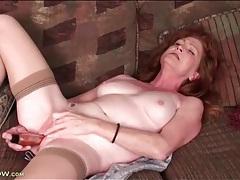 Milky white mature redhead masturbates solo tubes