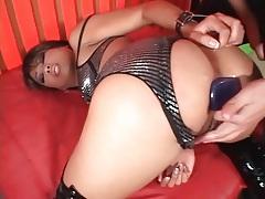 Butt plug in the ass of an asian cocksucker tubes
