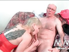 Old guy fucks a slut with sexy wing tattoos tubes