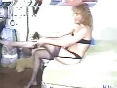 Vintage milf puts on a sexy black lingerie set tubes