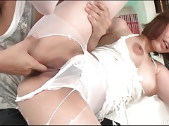 Finger fucking a japanese girl in white pantyhose tubes