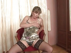 Beautiful mature chick in stockings and satin panties tubes
