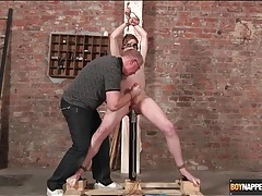 Huge toy up the asshole of bound twink tubes
