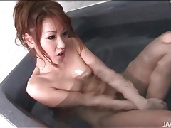 Japanese beauty in fishnets has threesome sex tubes