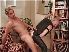 Horny leather bottom fucked from behind tubes